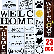 23pcs Welcome Stencil for Painting on Wood,Home Sign Stencils Reusable Porch Sign and Front Door Vertical Welcome Comes wi...