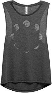 Thread Tank Moon Phases Women's Fashion Sleeveless Muscle Tank Top Tee Charcoal