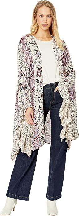 Printed Kimono with Ruffled Sleeves