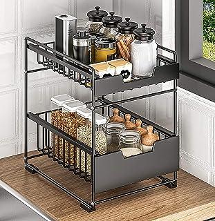 YXZN Support à épices Debout Organisateur de Rangement de comptoir de Cuisine 2 Niveaux Armoire coulissante Panier tiroir ...