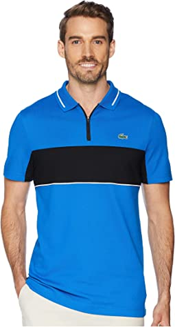 Sport Short Sleeve Semi Fancy Color Block Golf Polo w/ Collar Zip