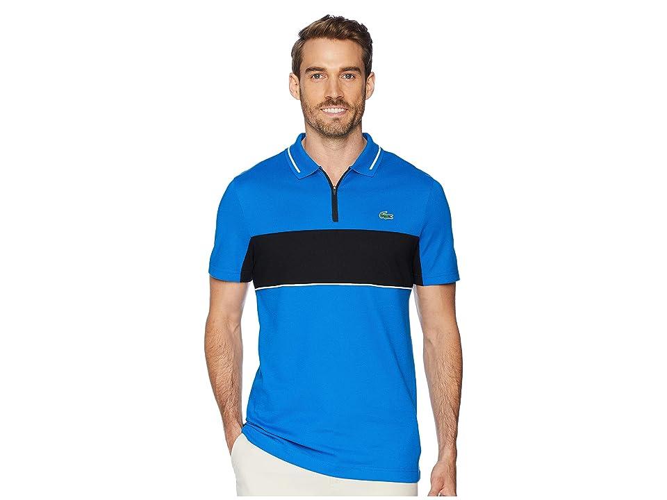 Lacoste Sport Short Sleeve Semi Fancy Color Block Golf Polo w/ Collar Zip (Blue Royal/Black/White) Men
