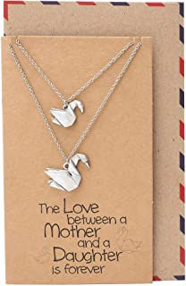 Swan Pendant Necklace, Mother Daughter Necklaces, Gifts for Mom and Daughter, Bird Jewelry, Handmade with Love Set of 2 Necklaces comes with a Presentable Greeting Card