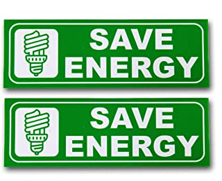 """eSplanade Save Energy Sign Sticker Decal - Easy to Mount Weather Resistant Long Lasting Ink Size (9"""" x 3"""")"""