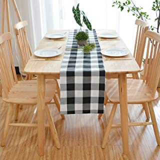 NATUS WEAVER 100% Cotton Black & White 2 Side Buffalo Check Farmhouse Table Runner for Family Dinners or Gatherings, Indoor or Outdoor Parties, Everyday Use (12