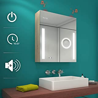 ARTFORMA Illuminated Bathroom Medicine Cabinet LED Lighted with Mirror (Width 26 inch x Height 28.3 inch) Wall Mounted with Bluetooth Speaker Touch Button Clock Makeup Fully Customizable Cabinets