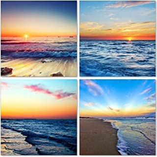 TutuBeer Beach Sunset Wall Art Giclee Canvas Sea Sunset Sunset Beach Wall Art Ocean Canvas Prints Wave Canvas Stretched and Framed Pictures Paintings Artwork for Living Room Home Decor,4 pcs/Set