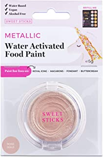 Rose Gold Water Activated Edible Food Paint Pan, Refill Palette By Edible Art with 1 Fine-Line Brush - Water Based Vegan C...