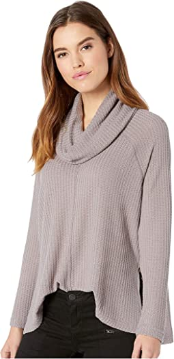 House Of Waffles Waffle Knit Cowl Neck Top