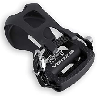 Venzo Fitness Exercise Spin Bike Compatible with Shimano SPD Pedals with Toe Clips & Cleats - Compatible with Peloton