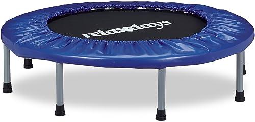 Relaxdays Trampoline intérieur pliable bleu-noir fitness gym musculation HxlxP  22 x 95 x 95 cm charge maximale 100 kg, bleu-noir