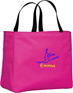 eb4db1a93544 All about me company Personalized Embroidered Dance Sport Essential Tote Bag  (Tropical Pink)