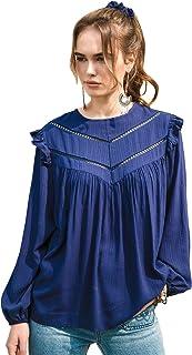 Shein Women's Casual Frill Trim Lace Insert Lantern Sleeve Blouse Top
