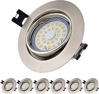 comprar comparacion EACLL Foco Empotrable LED GU10 Blanco Cálido 2700K 5W Ultrafino Innovador Focos de Techo, IP44 Puede Utilizar en Baño Níqu...