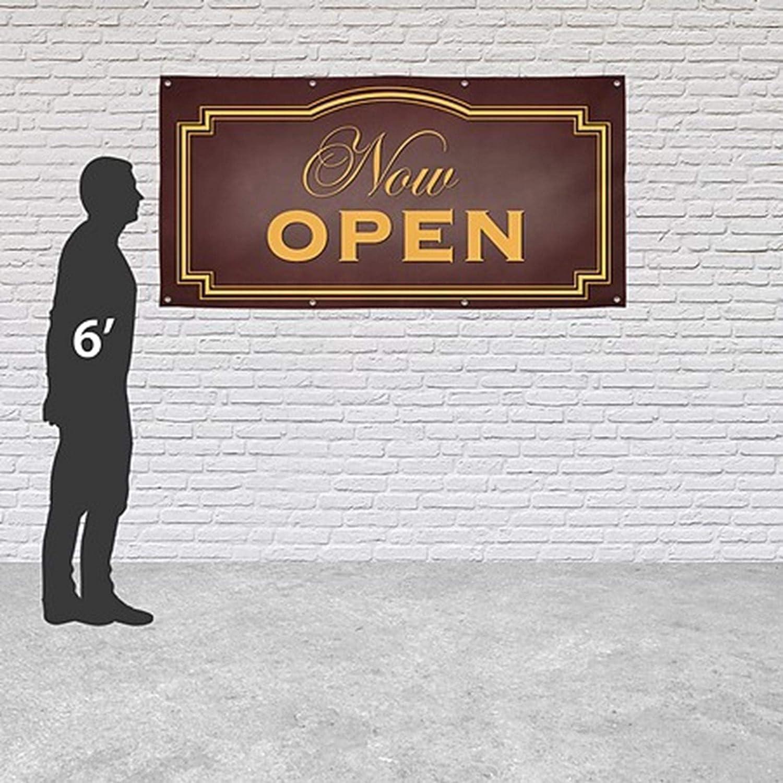 CGSignLab Now Open Classic Brown Heavy-Duty Outdoor Vinyl Banner 6x6
