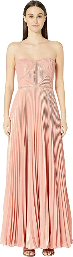 Strapless Pleated Lame Gown