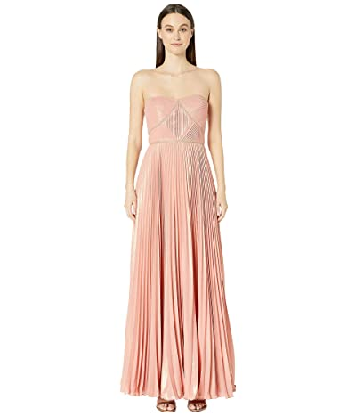 Marchesa Notte Strapless Pleated Lame Gown (Coral) Women