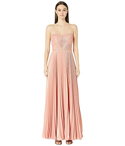 Marchesa Notte Strapless Pleated Lame Gown