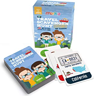 merka Educational Flashcards - Travel Scavenger Hunt - 96 Pocket Cards for Kids - 96 Objects to find on The Road - License Plate Poker with Educational info - Beautiful Illustrations and Bright Colors