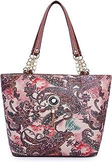 Bellina ® Women's Premium Leather Handbag (Bellina-Zanzeer Printed, Maroon)