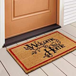 Welcome Mat Outdoor Doormat by LuxUrux, with Heavy-Duty PVC Backing - Natural - Perfect Color/Sizing for Outdoor/Indoor us...
