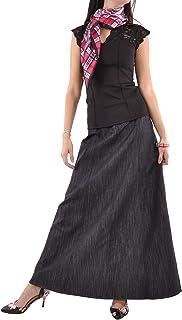 Style J Shimmer Black Long Denim Skirt
