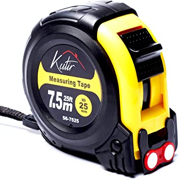 Measuring Tape Measure By Kutir - EASY TO READ 25 Foot BOTH SIDE DUAL RULER, Retractable, STURDY, Heavy Duty, MAGNETIC HOOK, Metric, Inches and Imperial Measurement, SHOCK ABSORBENT Solid Rubber Case