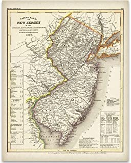 1846 New Jersey Map – 11×14 Unframed Art Print – Great Vintage Home..