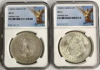 1948 MX MS-62 1948 MS-63 Mexico Silver Chief Cuahtemoc 5 Peso (Cinco Peso) 2 Coin Set NGC
