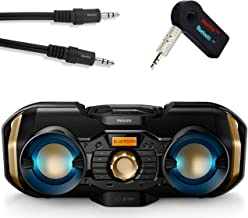 Philips Bluetooth Boombox Bundle [3] Piece Set Includes Light up Speaker Boombox 3.5mm Wireless Bluetooth Receiver; Stream Music from Device Through Any Home or Car Speaker + A 3.5mm AUX Cord