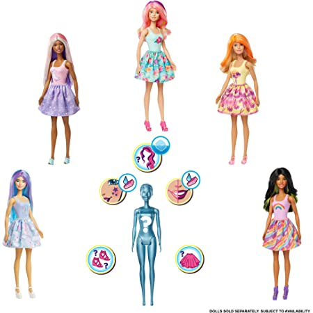 Barbie- Color Reveal Assortimento a Sorpresa a Tema Sole, Vestito e Acconciatura, Modelli Asortiti Giocattolo per Bambini 3+Anni, GTP42
