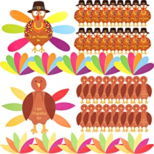 BBTO Thanksgiving Turkey Craft Kit 36 Pieces Thanksgiving Turkey Craft Paper and 240 Pieces Glue Point Dots for Thanksgiving Party Decoration DIY Craft Activities