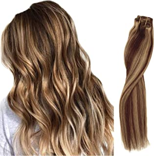 Clip in Hair Extensions Medium Brown with Strawberry Blonde Highlighted Remy Clip in Real Extensions 8pcs Double Weft Silky Straight Seamless Clip on Human Hair Extensions 16 Inch 120G for Women