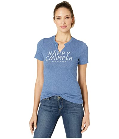 Life is Good Happy Camper Favorite Spilt-Neck Tee (Vintage Blue) Women
