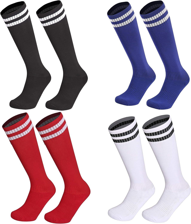Kids Youth Soccer Socks, 4 Pack Knee High Striped Tube Athletic Socks For Boys & Girls