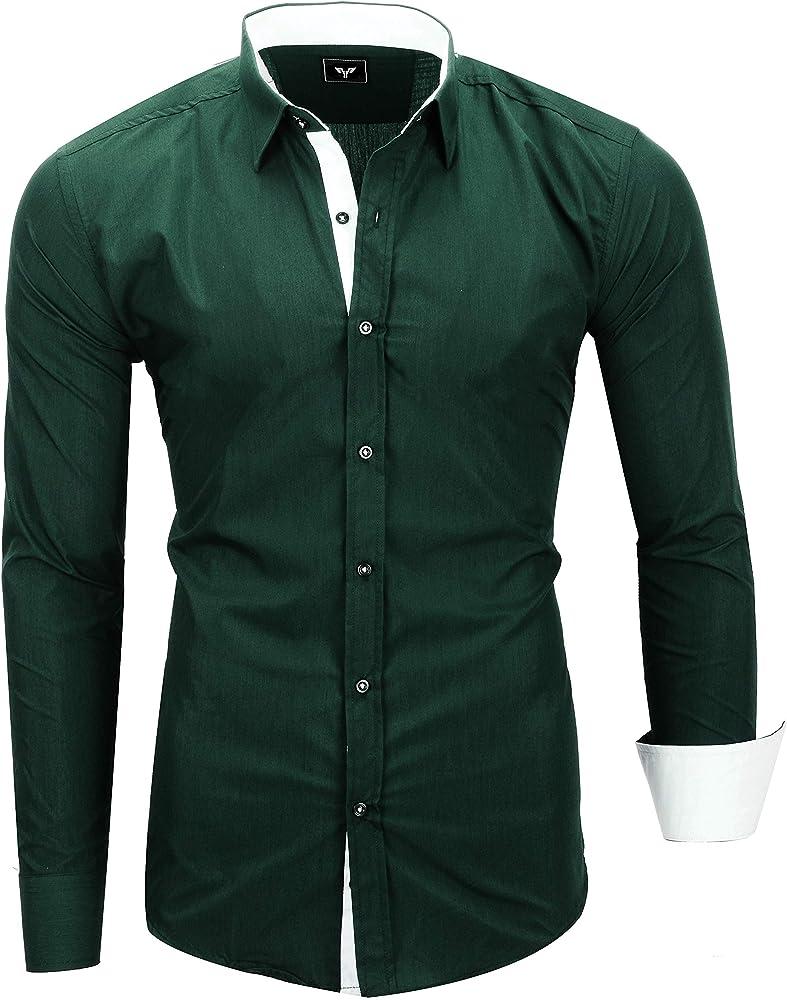Kayhan originale camicia a maniche lunghe da uomo 97% cotone 3% elastan A-TwoFace-0000115a