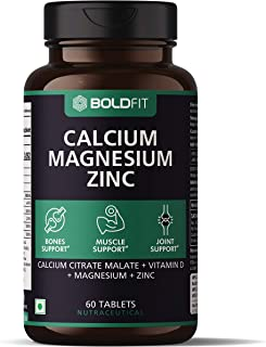 Boldfit Calcium Supplement 1000Mg for Women and Men with Magnesium, Zinc, Vitamin D and B12. Ideal for Bone Health, Sports...