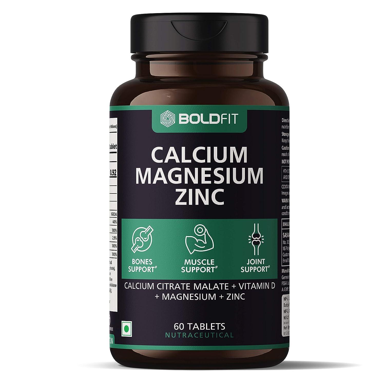 Boldfit Calcium Magnesium Zinc is the best calcium tablets in india