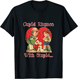 Vintage Cupid Rhymes With Stupid - Funny Valentin T-Shirt