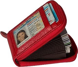 RFID Blocking Credit Card Case Organizer Genuine Leather Zip-Around Security Wallet Red