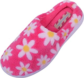 ABSOLUTE FOOTWEAR Womens Soft Faux Fur Slippers/Mules/Indoor Slippers with Flower Design