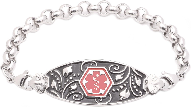Medical ID Popular brand in the world Stainless Rolo Link - DIABET Bracelet Strand Filigree 35% OFF