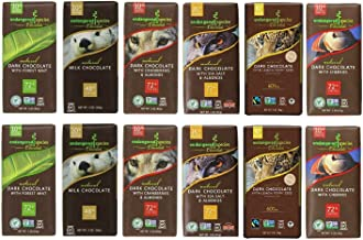 Endangered Variety Pack 6 Flavors (Pack of 12) (Dark Choc with Lemon , Dark Choc w Sea Salt & Almonds, Dark Choc w Cherry, Rain Forest Dark Mint, Wolf Dark Choc w Cranberry Almond, 48% Milk Choc)