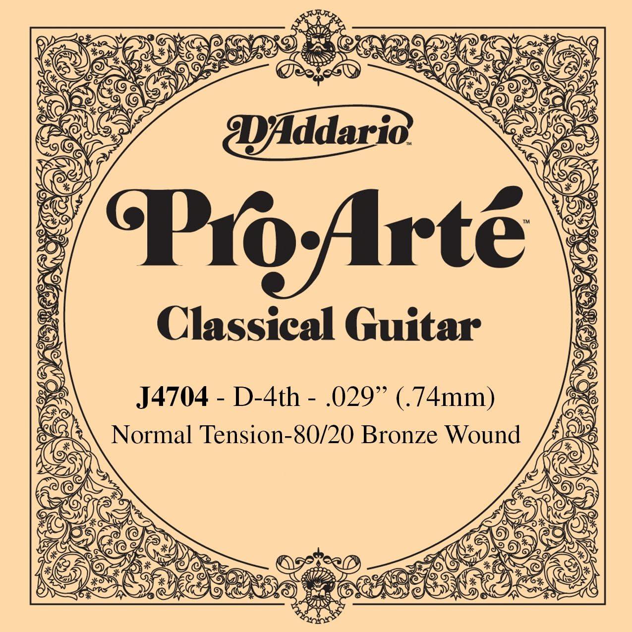 D'Addario J4704 Pro-Arte, cuerda individual de nailon entorchada en bronce 80/20 para guitarra clásica, tensión normal, cuarta cuerda, naranja