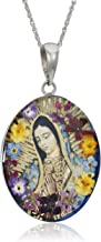 Sterling Silver Virgin Mary of Guadalupe Pressed Flower Pendant Necklace, 18