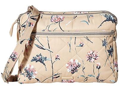 Vera Bradley Performance Twill Triple Compartment Crossbody (Strawflowers) Handbags