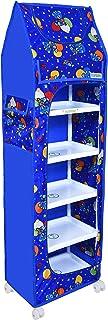 FLIPZON Baby Wardrobe Plastic Multipurpose 6 Shelve, Foldable, (Unbreakable Material) (Blue)