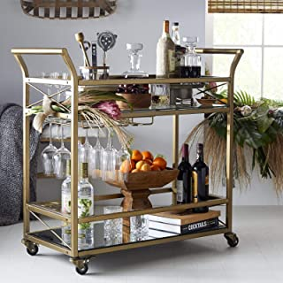 Contemporary Modern Glam Sleek Metallic Gold Finish Metal Glass Mobile Tiered Bar Cart Buffet Serving Cart with Glass Rack & Bottle Holders