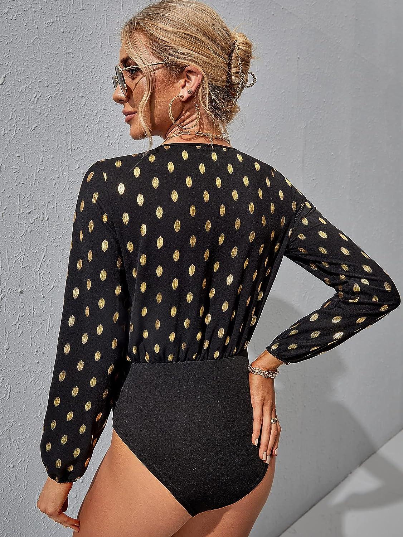 WDIRARA Women's Polka Dots V Neck Long Sleeve High Waist Elegant Bodysuit