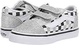(Glitter Checkerboard) Silver/True White